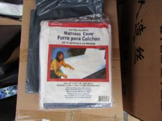 """2x Fitted Plastic Mattress Cover ( 54"""" x 76"""" x 8"""" ) - Unused & Packaged."""