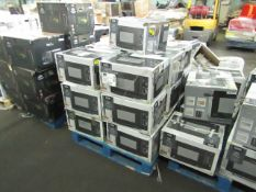 1x Pallet of Approx 19 700w Manual Microwaves - Black - Unchecked & Boxed - RRP £40 Per Lot -
