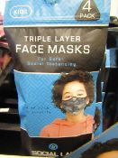 5x Childrens (Boys) Triple Layer Face Mask - New & Sealed -