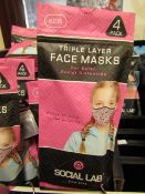 5x Childrens (Girls) Triple Layer Face Mask - New & Sealed