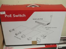 PoE Switch, unchecked and boxed.