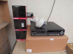 16 Channel network video recorder with 3x dome cameras with mounts, all unchecked and boxed.