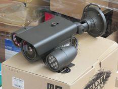 "CCTV IR weatherproof camera, 1/3"" colour, CCD 700TVL, Lens 9-22mm, DC12v, new and boxed."