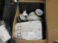 Box containing over 10x various CCTV parts, all loose and unchecked.