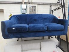 | 1X | MADE.COM BLUE VELVET 3 SEATER SOFA | no major damage (PLEASE NOTE, THIS DOES NOT PROVIDE