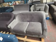 | 1X | MADE.COM GREY VELVET TUBBY LOVE SEAT | no major damage (PLEASE NOTE, THIS DOES NOT PROVIDE