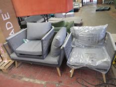 | 1X | LOFA ASSURED 3 PIECE OUTDOOR GARDEN SET | HAS SOME MATERIAL WEAR AND ONE CHAIR HAS LOOSE