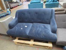 1 x Made.com Orson 3 Seater Sofa Dark Blue Weave RRP £699 SKU MAD-AP-SOFORS252BLU-UK-BER TOTAL