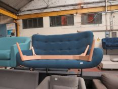| 1X | MADE.COM BLUE FABRIC SOFA WITH WOOD LEGS | no major damage (PLEASE NOTE, THIS DOES NOT