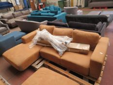 | 1X | MADE.COM LEATHER L-SHAPE SOFA | HAS A BLYE MARK ON THE CORNER PIECE AND INCLUDES FEET |