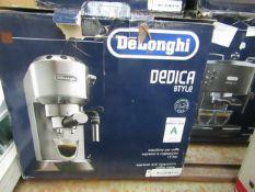 DELONGHI - Dedica Style EC685M Traditional Pump Espresso Machine - Silver - Unchecked, Untested &
