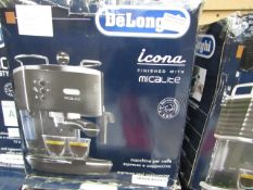 DELONGHI - Icona Micalite ECOM311.BK Coffee Machine – Black - Item Powers On, Unchecked For