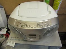 Phillips CD sound Machine, tested working for sound on radio setting and boxed, RRp £42.99