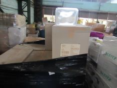 PALLET CONTAINING APPROX 12 BOXES OF 450 PLASTIC CONTAINER LIDS 23CM X 18CM. BOXED