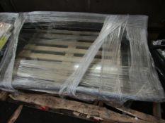 GLASS OUTDOOOR CANOPY. 200CM X 95CM WITH LIP (25CM) NO VISABLE DAMAGE