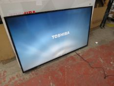 """Toshiba 55"""" 4K HDR TV, tested working but display showing it has a bent near the bottom. No stand."""