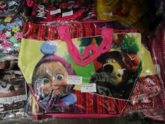 5X MASHA AND THE BEAR ZIP CARRY BAG, NEW AND PACKAGED, SEE PICTURE
