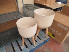 | 1X | MADE.COM ALLO SET OF 2 POLY RESIN PLANT STANDS | NO MAJOR DAMAGE (PLEASE NOTE, THIS DOES