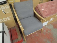 | 1X | COX AND COX WOODEN ARMCHAIR WITH CUSHION | Has been glued and repaired on the back (PLEASE