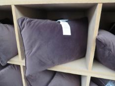 Set of 2x Costco brown velvet cushions, NO MAJOR DAMAGE (PLEASE NOTE, THIS DOES NOT PROVIDE ANY
