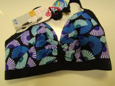 1X ZOGGS WOMENS SWIMSHAPES BIKINI TOP, SIZE 38F, BLACK AND PURPLE, NEW WITH TAGS.