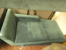   1X   MADE.COM VELVET CHAISE LOUNGER   NO MAJOR DAMAGE (PLEASE NOTE, THIS DOES NOT PROVIDE ANY