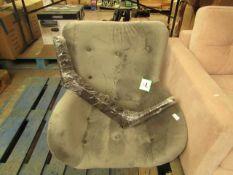 1 x Made.com Custom MADE Doris Accent Chair Steel Grey Velvet with Dark Wood Legs RRP £349 SKU MAD-