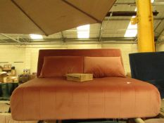   1X   MADE.COM PINK VELVET SOFA BED   NO MAJOR DAMAGE (PLEASE NOTE, THIS DOES NOT PROVIDE ANY