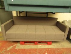   1X   MADE.COM 3 SEATER FABRIC SOFA   HAS A SMALL REPAIRABLE TEAR AT THE FRONT AND MISSING FEET  