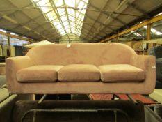 1 x Made.com Custom MADE Tubby 3 Seater Sofa Heather Pink Velvet with Dark Wood Legs RRP £449 SKU