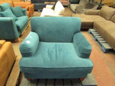 1 x Made.com Orson Small Armchair Velvet Seafoam Blue RRP £349 SKU MAD-CHAORS189BLU-UK TOTAL RRP £