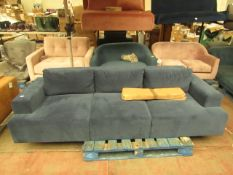  1X   MADE.COM BLUE VELVET 3 SEATER SOFA   NO MAJOR DAMAGE (PLEASE NOTE, THIS DOES NOT PROVIDE