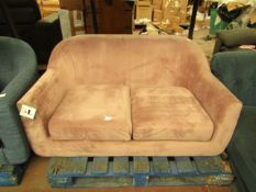   1X   MADE.COM TUBBY 2 SEATER SOFA, HEATHER PINK VELVET   HAS MARKS ON THE MATERIAL SO WILL NEED