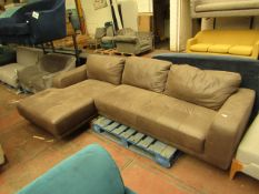   1X   MADE.COM LUCIANO RIGHT HAND FACING END CHAISE CORNER SOFA, TRUFFLE BROWN LEATHER   NO MAJOR