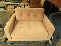   1X   SWOON PINK VELVET SMALL LOVE SEAT   NO MAJOR DAMAGE (PLEASE NOTE, THIS DOES NOT PROVIDE ANY