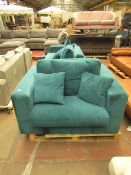   1X   MADE.COM BLUE ARMCHAIR   HAS A MARK ON THE FRONT AND ,MISSING FEET   RRP -  