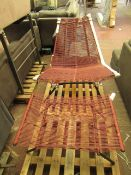   1X   MADE.COM HEDY GARDEN CHAIR & FOOTSTOOL SET, WOVEN CLAY RED & BLACK   ITEM IS COMPLETE  