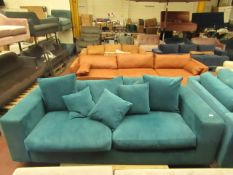   1X   MADE.COM BLUE 3 SEATER SOFA   HAS A RIP ON BOTH SIDES AND MISSING FEET   RRP -  