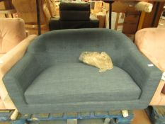   1X   MADE.COM BLUE TUBBY LOVE SEAT   NO MAJOR DAMAGE (PLEASE NOTE, THIS DOES NOT PROVIDE ANY