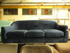   1X   MADE.COM BLUE VELVET 3 SEATER SOFA   HAS A RIP ON THE SIDE AND MISSING FEET   RRP £899  
