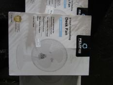 5x Pelonis 9 Inch Desk Fan | Unchecked & Boxed | RRP £15 | Total lot RRP £75 | Load Ref 23003080 |