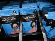 5x packs of 4 - triple layer face mask - new & packaged.