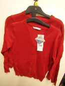 10 X F&F Girls Red School Jumpers Aged 7-8yrs New With Tags