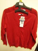 6 X F&F Girls Red School Jumpers Aged 7-8yrs New With Tags