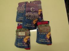 15 X Pairs of Glitter Socks Ladies Size 4-6 All New & Packaged