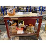 Steel framed mobile workbench