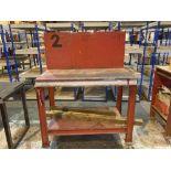 Steel framed mobile workbench