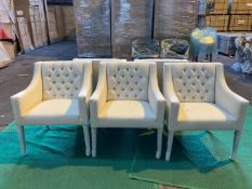 (5) White upholstered dining chair