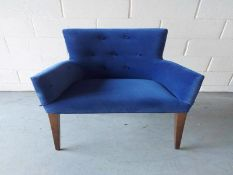 Blue bespoke bead trimmed dining chair