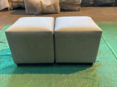 (2) Grey upholstered cube shaped stools